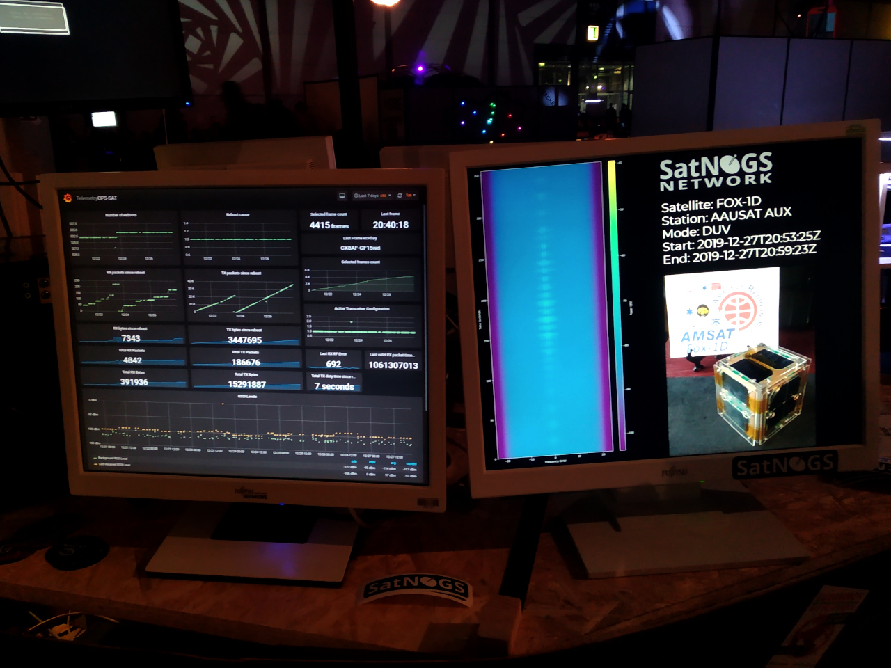 Satellite dashboards and satnogs demo display